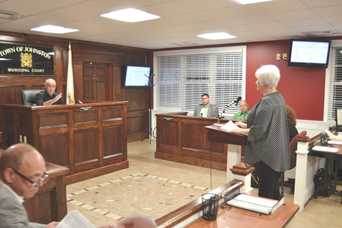 CUT OFF: Resident Jean Lynch, who wanted to address the council regarding meeting interruptions and lawsuits against the town was cut off by Councilman Anthony Verardo.