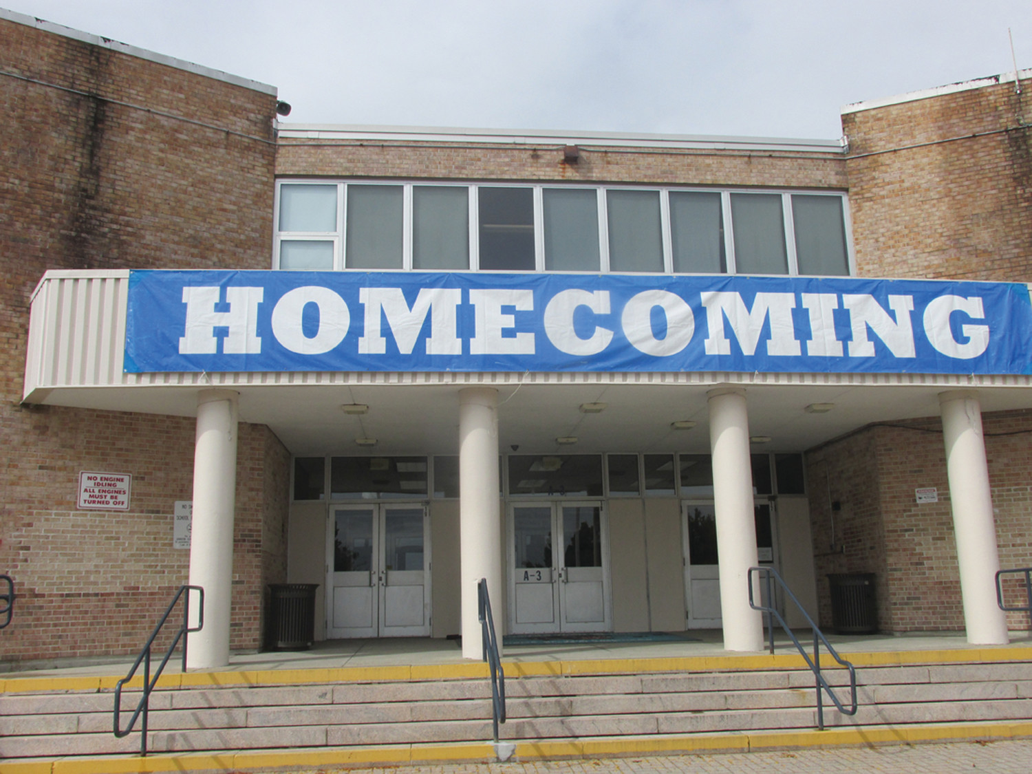 SPECIAL SLOGAN: This is the huge banner that's been affixed to the entrance at Johnston High School since last week in honor of the 51st annual Homecoming celebration.