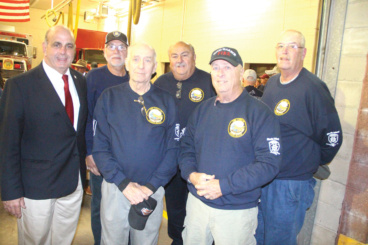 EARLY BIRDS:  Mayor Joseph Solomon joined members of the Rhode Island Retired Deputy Sheriffs Association at 5 a.m. Saturday at Warwick Fire Station 8. The association sponsored Saturday's Honor Flight to Washington DC.