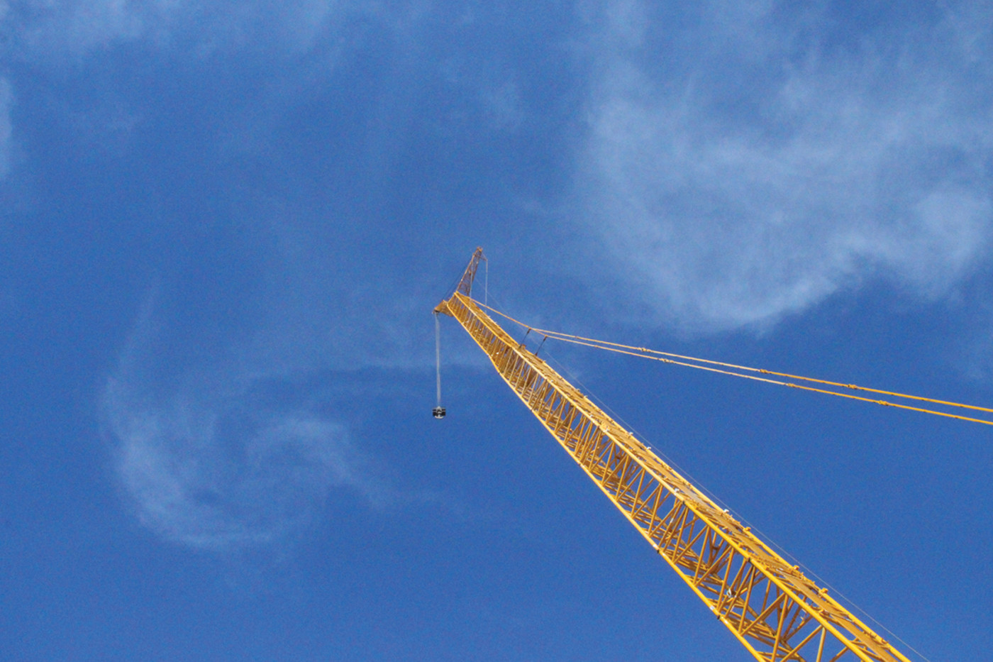 REACHING NEW HEIGHTS FOR POWER: A crane nearly 500 feet high stands ready to lift components to one of seven wind turbines to be erected this week off Plainfield Pike in Johnston.