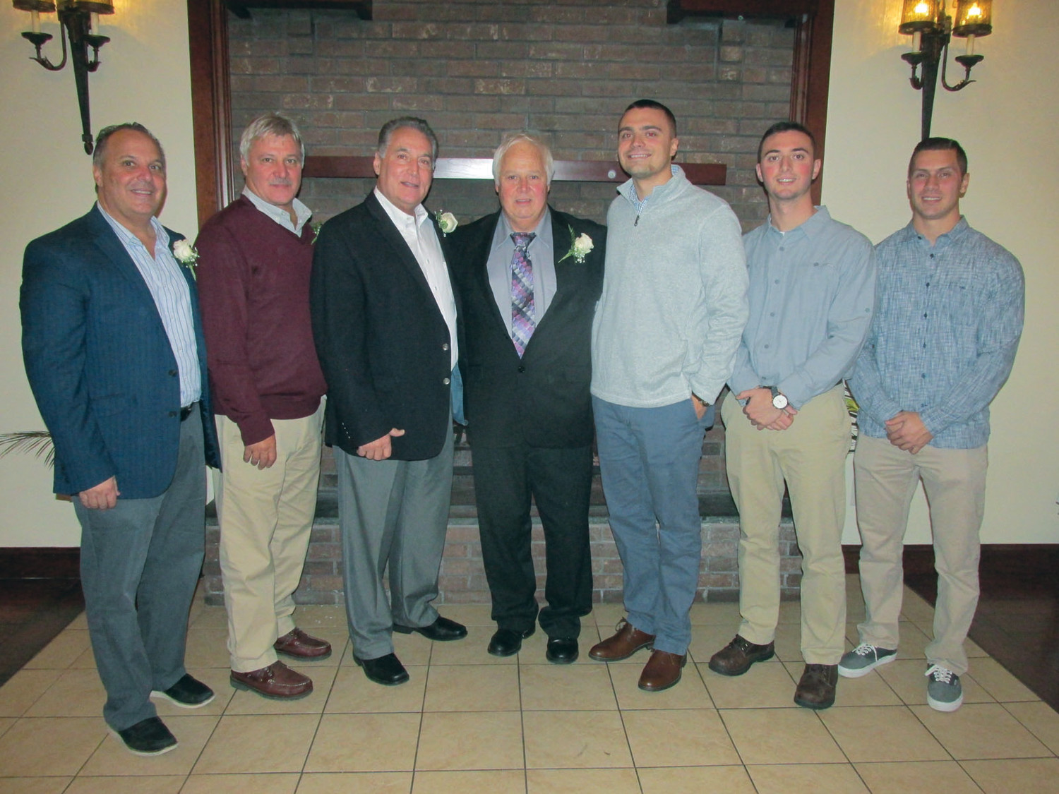 PRESTIGIOUS PANTHERS: These new JHS Hall of Famers were inducted during Sunday's ceremony under the player category. The group includes: Ryan Anderson, Gian Bianchi, Justin Caparco, Karl Jeschke, Chris Pistacchio, Robert Saccoccia, David      Santangelo and Robert Valletta. (Photo by Pete Fontaine)