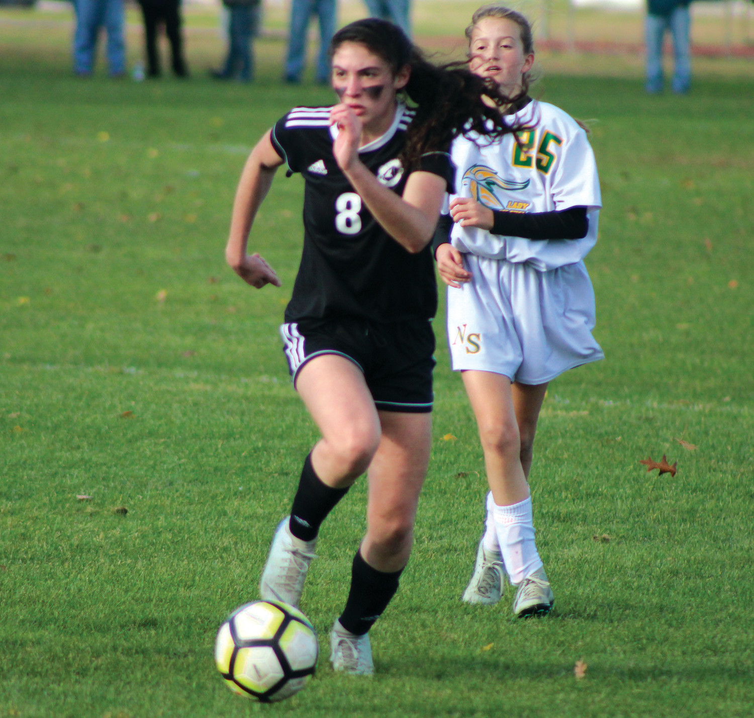 UP THE FIELD: Pilgrim's Hannah French dribbles.