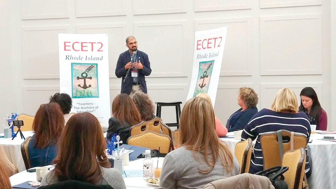 MY JOURNEY IN EDUCATION: Michael Miele of the Highlander Institute spoke to the guests at ECET2RI about his journey in education from being a student, to being a traditional teacher, and to being an innovator and a teacher leader.