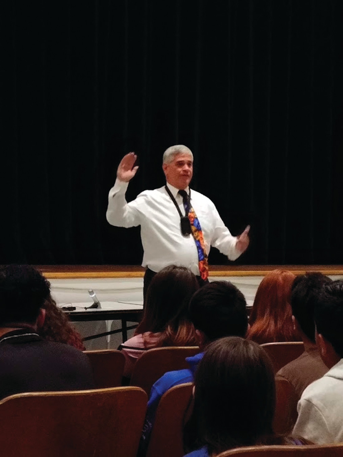 NEVER TOO OLD: Kilmartin gave the eighth-graders at Park View Middle School great advice about pursuing their passions, no matter how old they are.