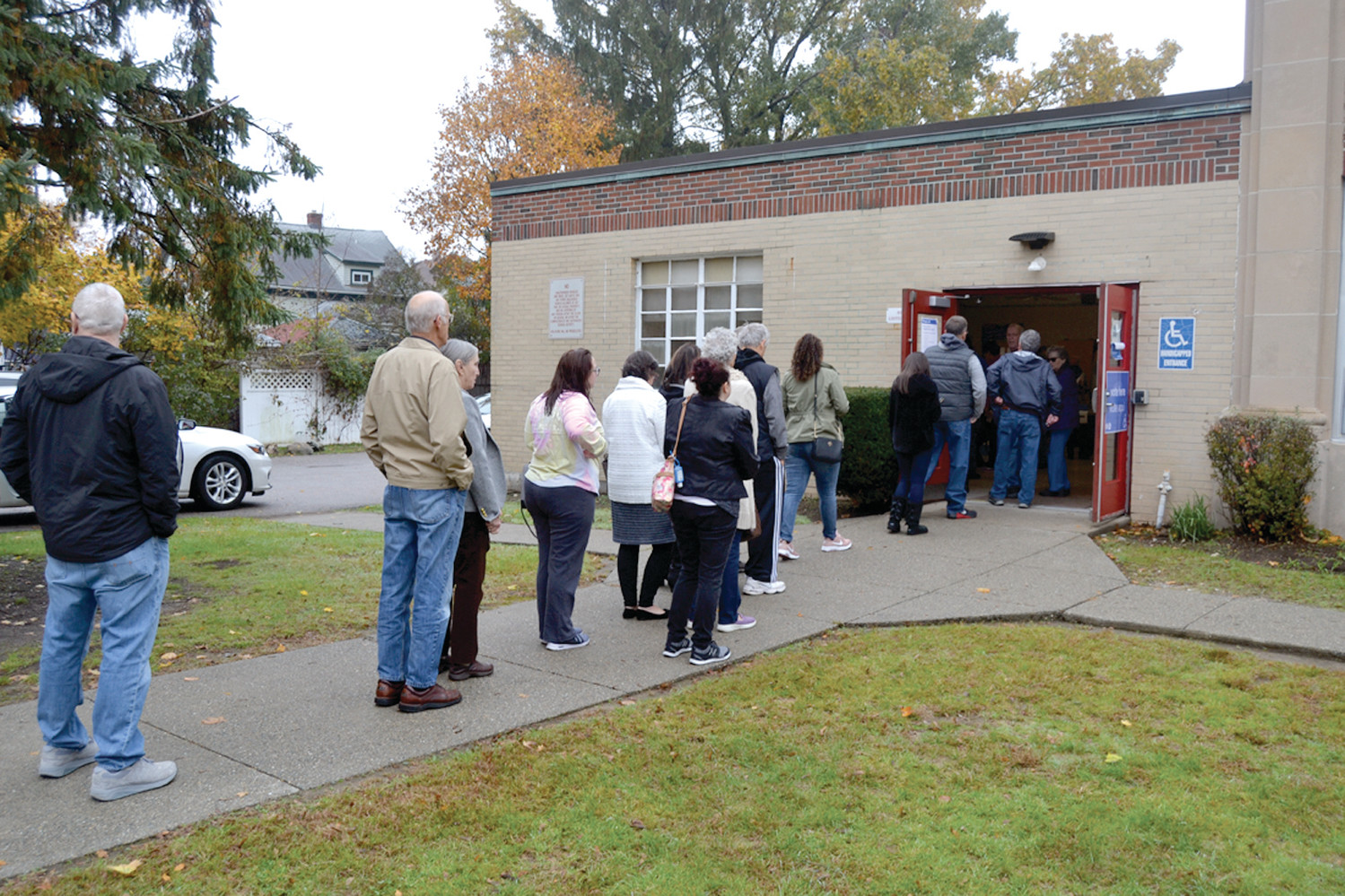LONG LINE: Turnout was high at the Graniteville School, where voters saw long lines throughout the morning.