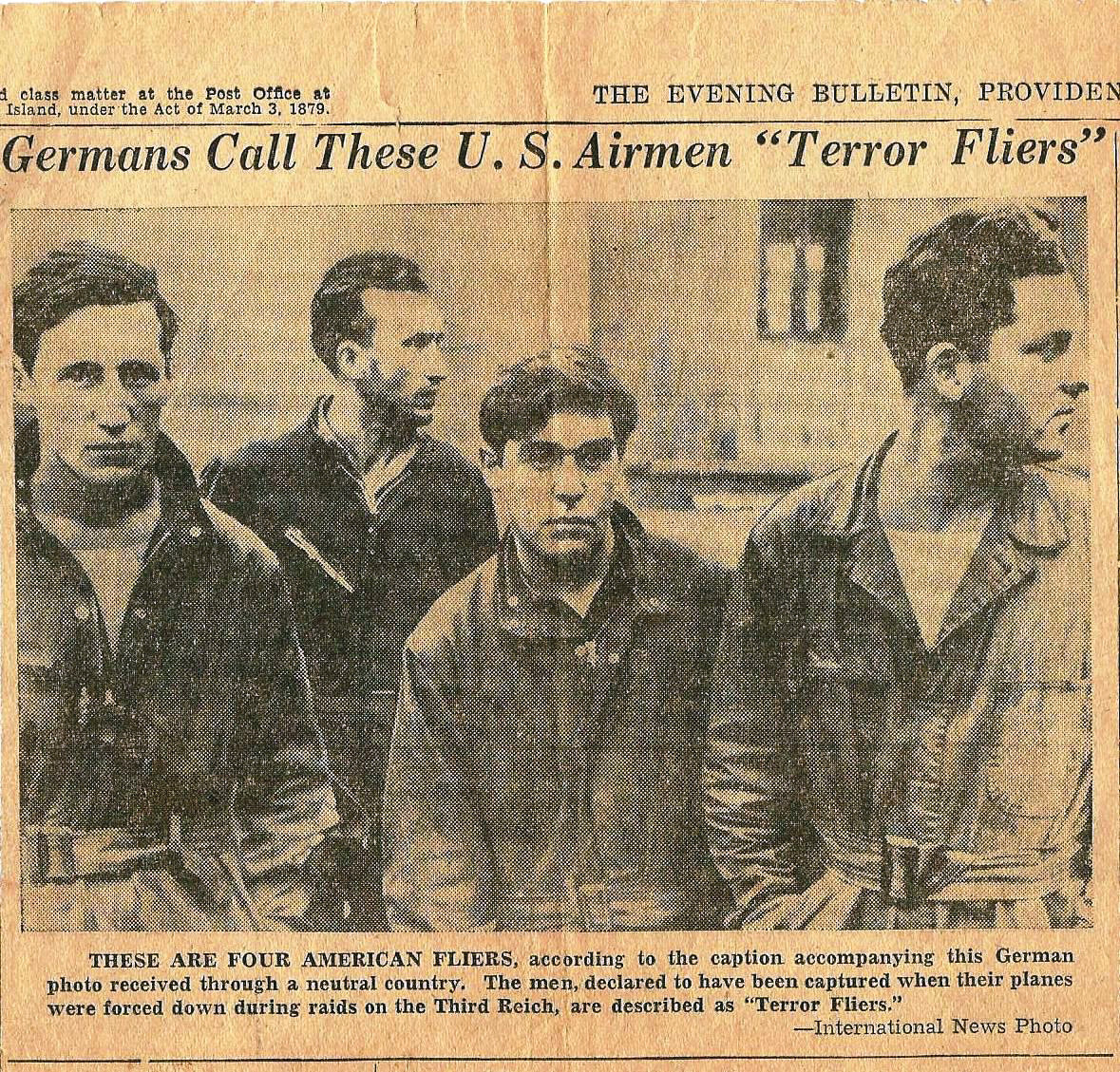 TERROR FLIERS: Staff Sergeant Raymond Barnes (far left), father of Pawtuxet Ranger Commander Ronald Barnes, was captured in 1943 by German Forces after his B-17 was shot down over Germany. This photo, from the Providence Evening Bulletin, was featured without the knowledge that one of the captured pilots was a Rhode Islander.