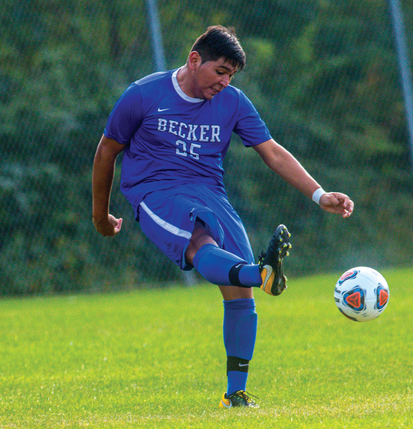 FOR KICKS: Becker College and former Pilgrim soccer player Devin Ramos during the 2018 season.