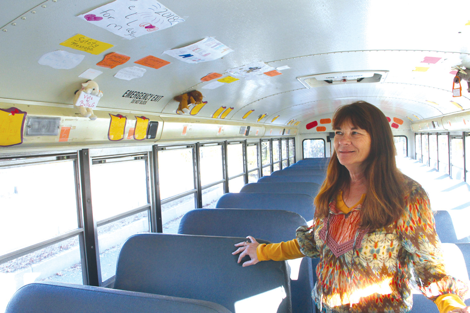 CAMPAIGN ORGANIZER: Bus driver Bre Paine came up with the six-week campaign as a fun way for students to be aware of bus safety.