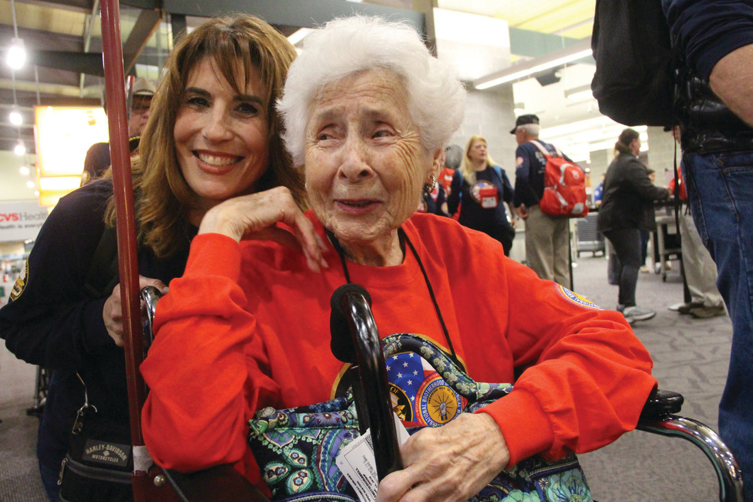 Dorabelle Smith, who worked on seaplanes during WWII in Quonset, pictured here about to board Honor Flight Tango to tour monuments in Washington D.C.