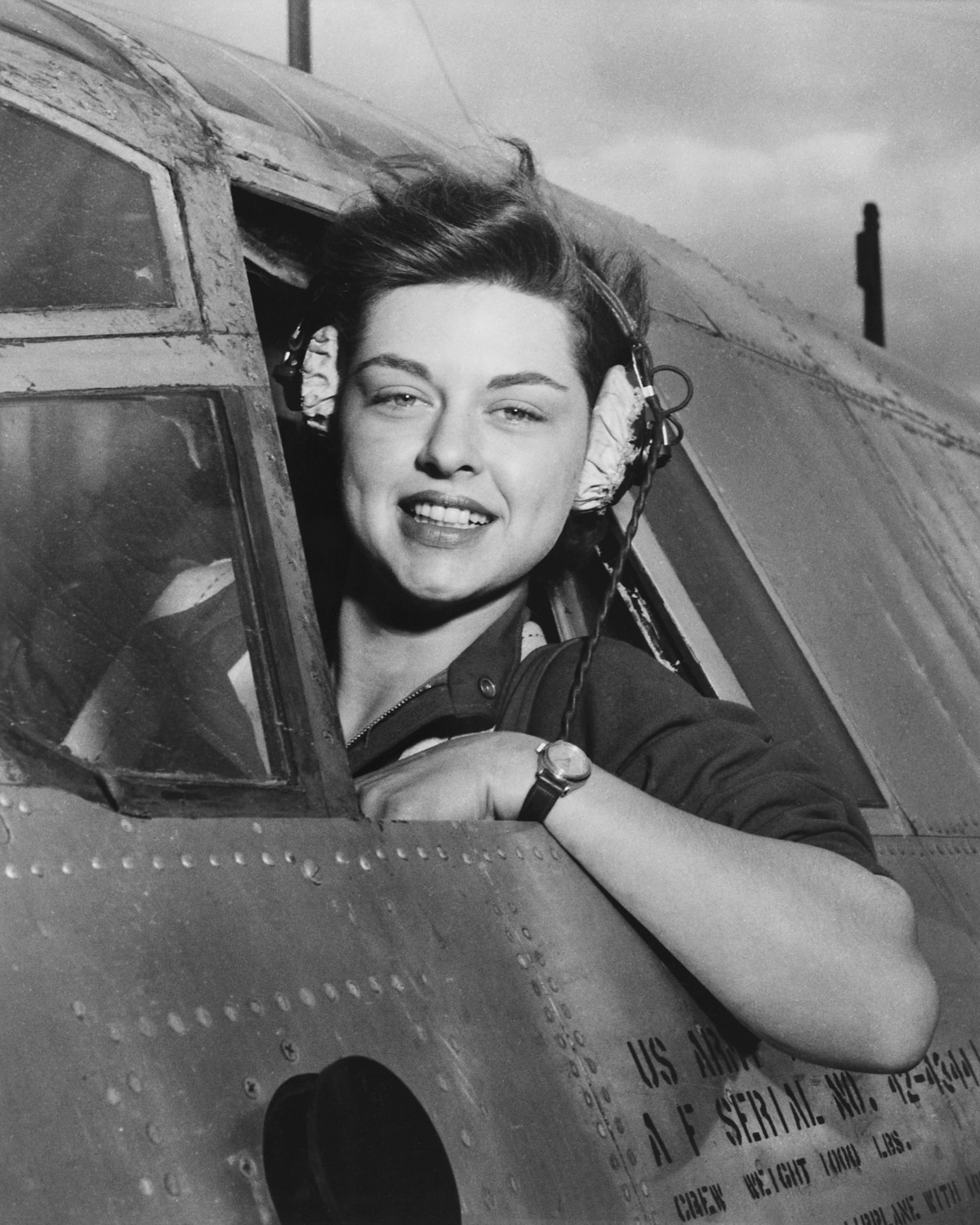 A member of the Womens Airforce Service Pilots (WASP) pictured during WWII. Women helped test aircraft and move materials throughout the continent during the war when male pilots were in short supply.