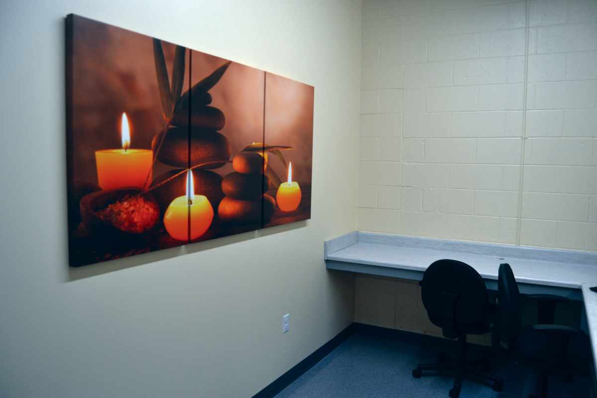 READY TO SERVE: Though sparsely furnished, the facility's goal is to provide a safe, relaxing and welcoming environment for clients. Those who visit the triage facility can stay for up to 24 hours while their situation is being addressed.