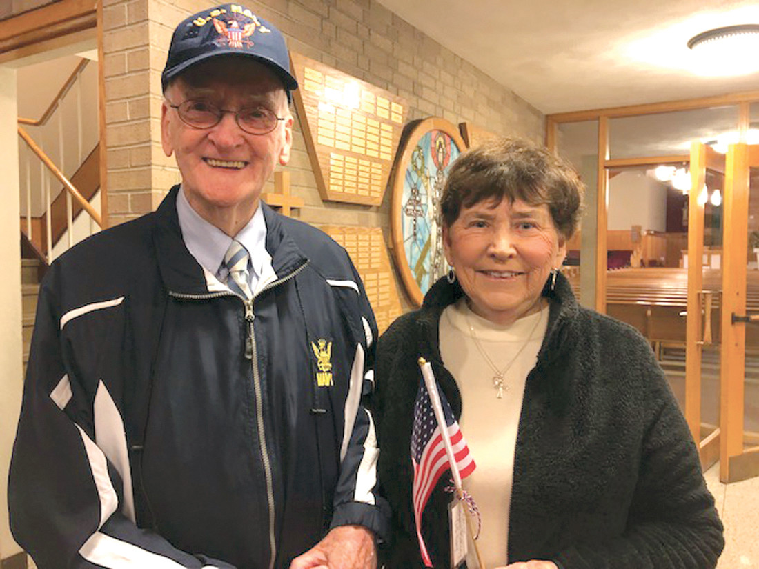 SENIOR VET: Naval Quartermaster 3rd Class, Owen Mahoney, who is 92, was the eldest veteran at the ceremony. He is pictured with his wife, Theresa.