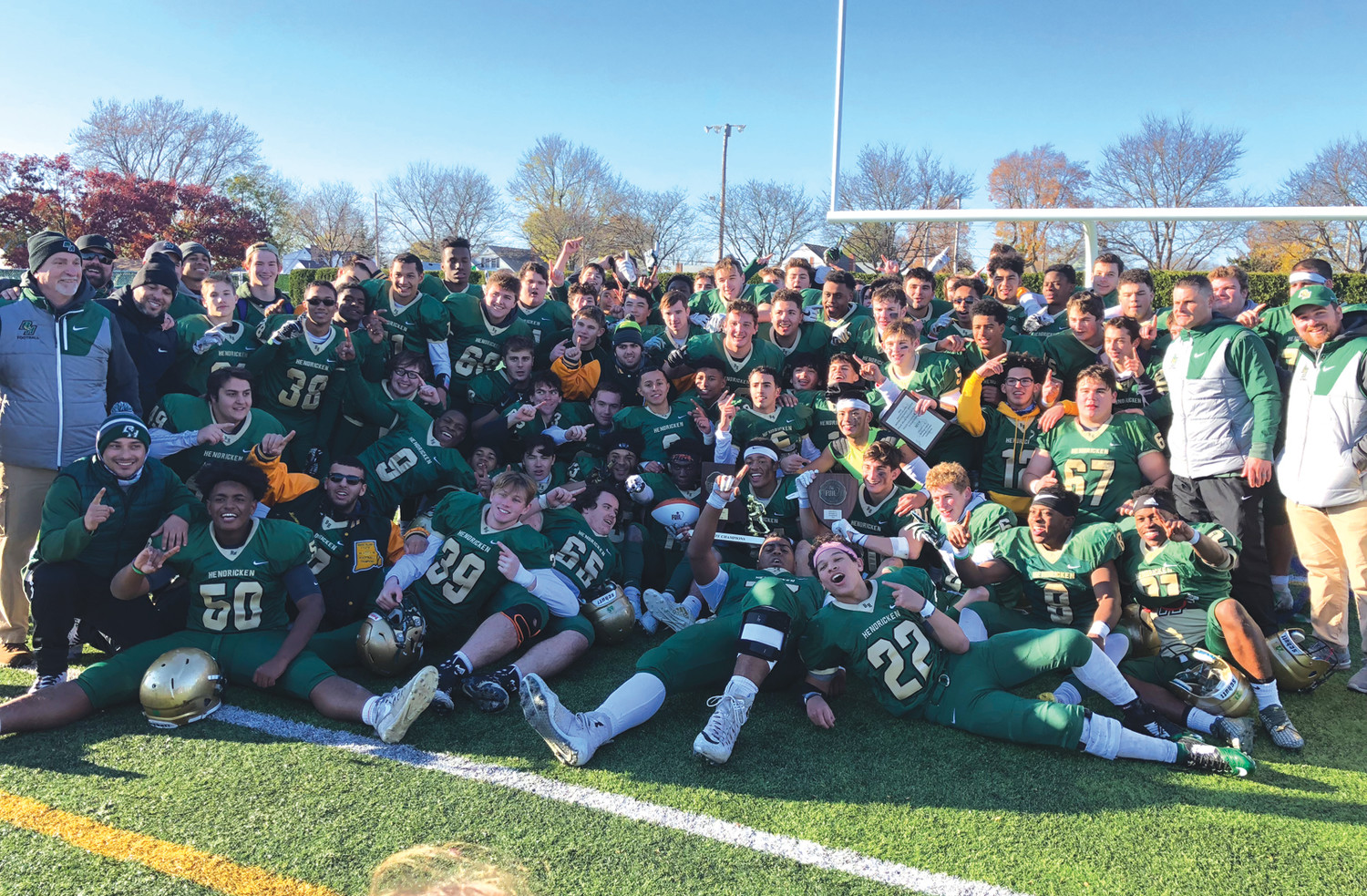 REDEMPTION: The 2018 Division I state champion Bishop Hendricken football team.