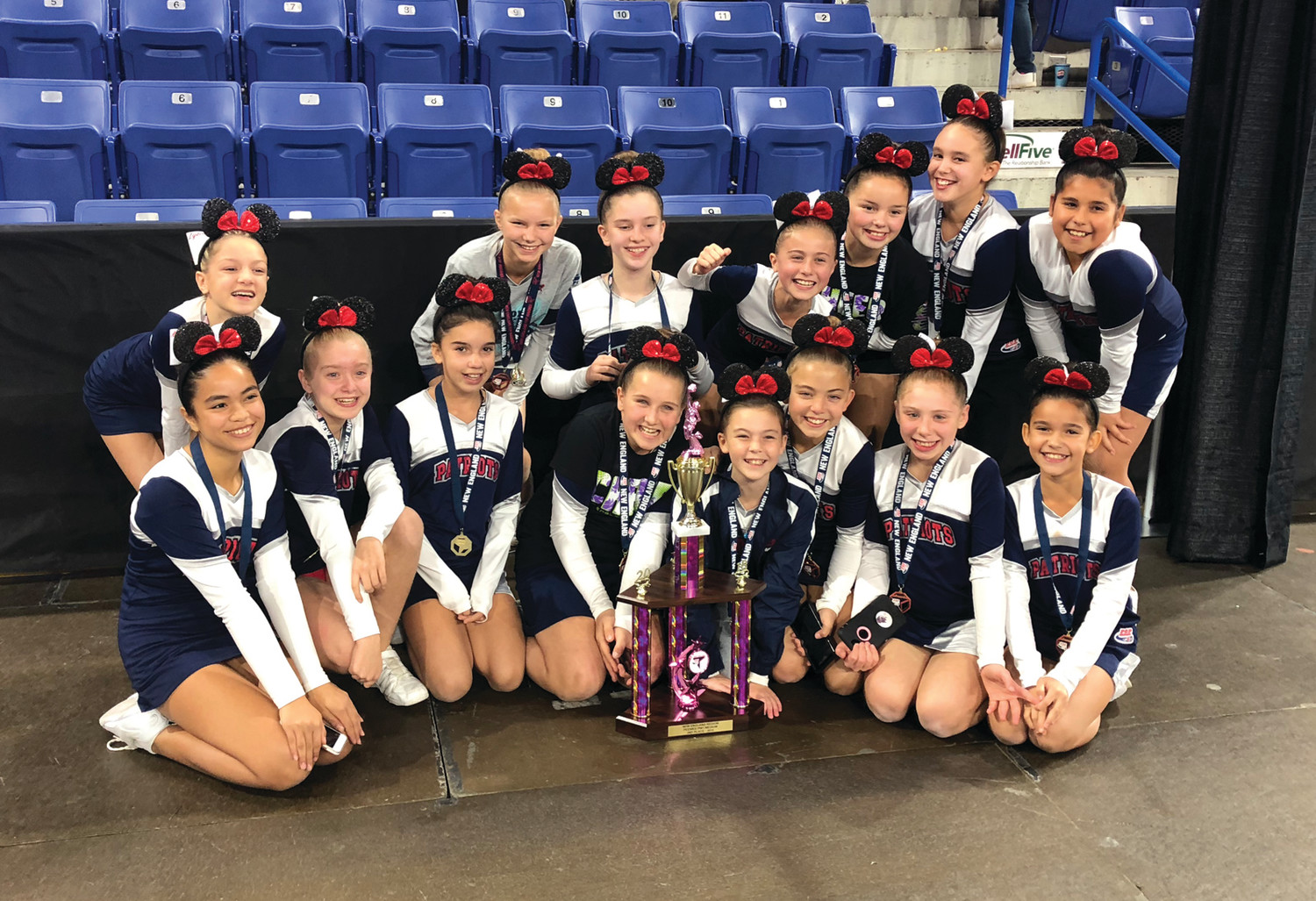 ON TO NATIONALS: The Warwick PAL cheerleading team after winning at regionals.