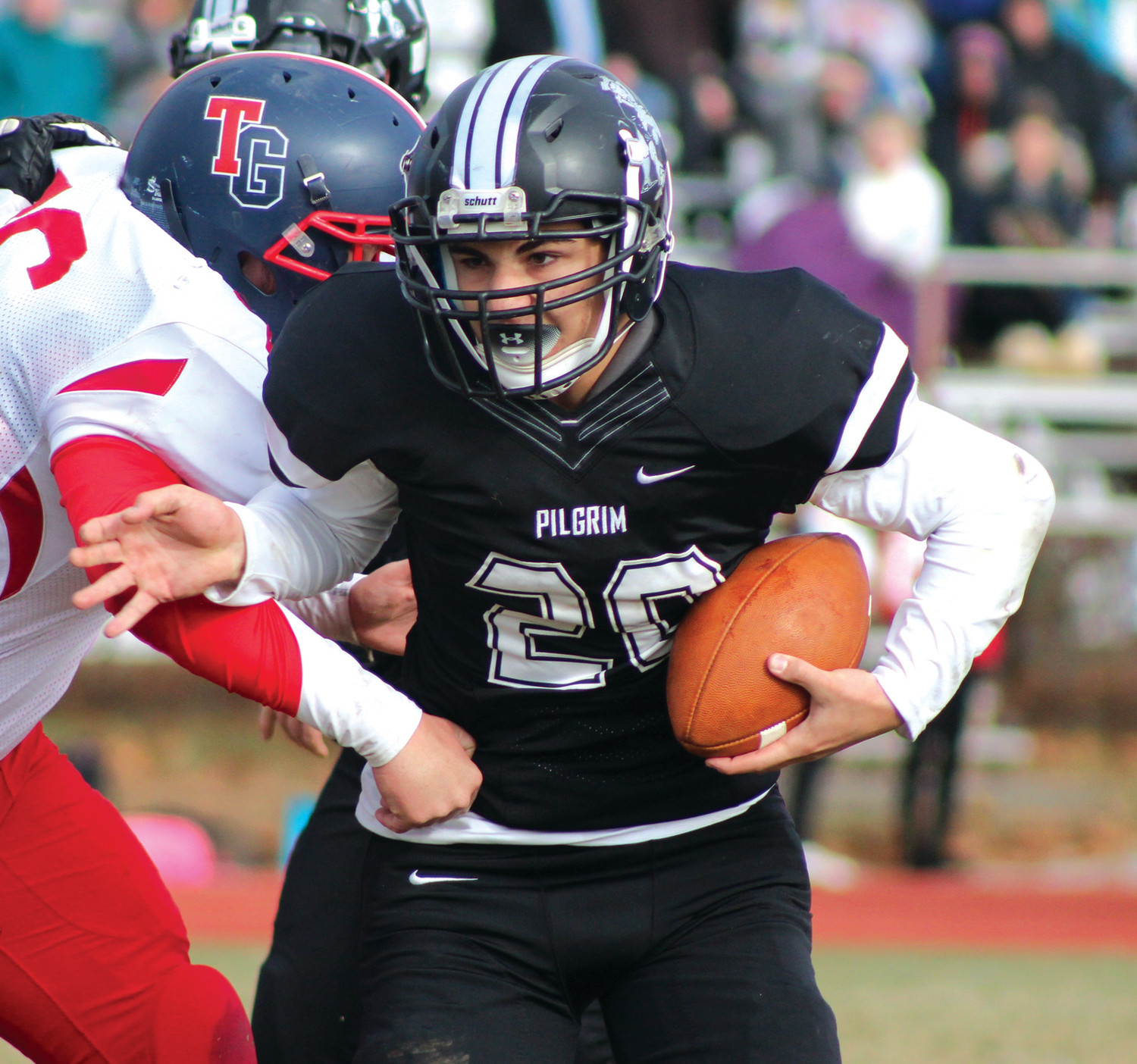 SHOULDER DOWN: Pilgrim's Danny Halliwell works past a Toll Gate defender.