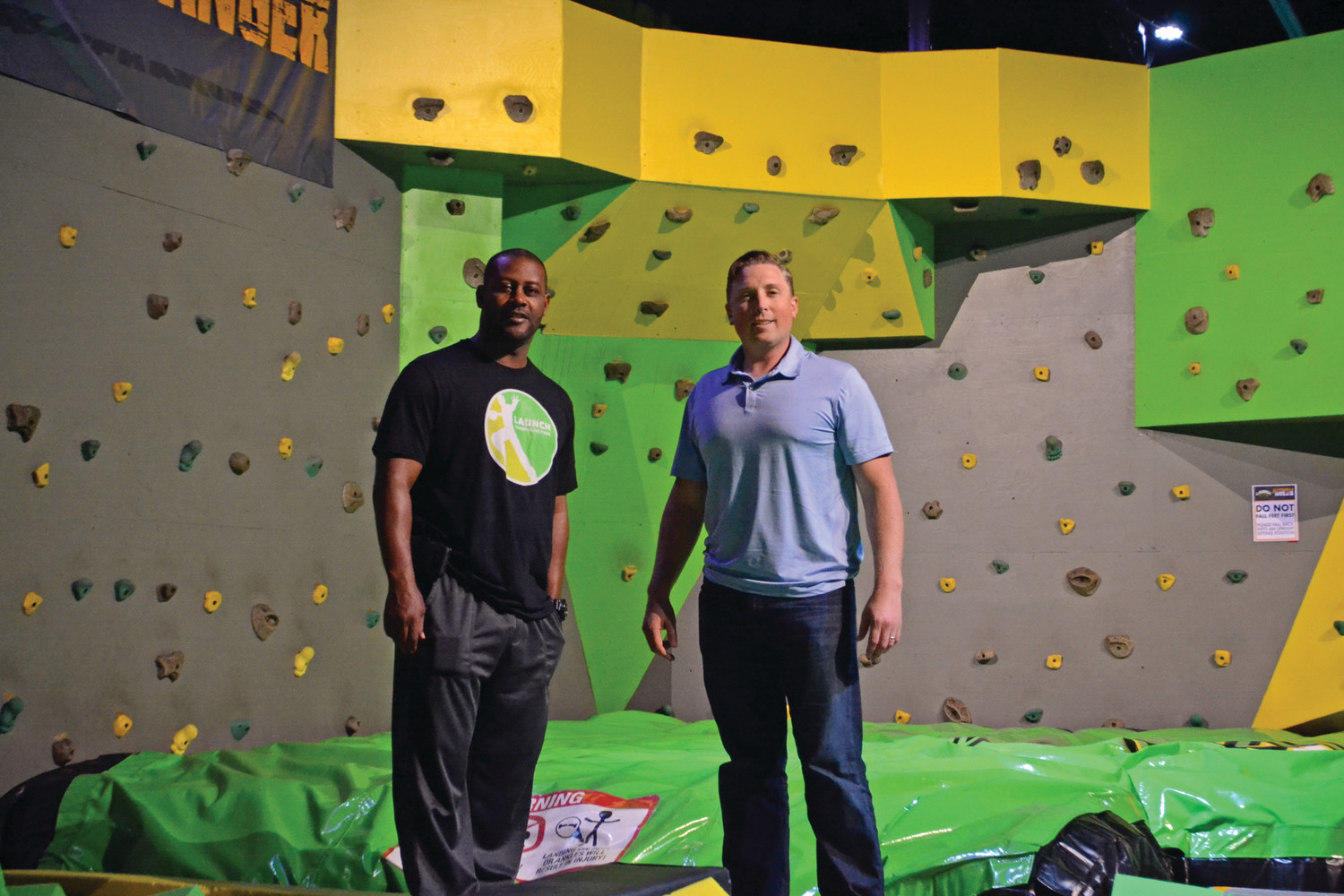 TY'S NEW TEAM: Former New England Patriot and three-time Super Bowl champion Ty Law (left) with business partner and North Kingstown native Rob Arnold at Launch Trampoline Park in Warwick.
