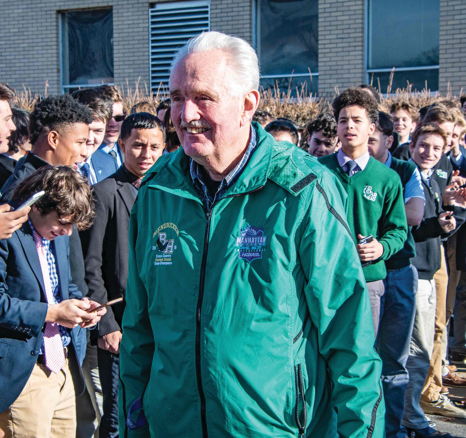 LEADER OF THE PACK: Bishop Hendricken cross country coach Jim Doyle on Wednesday.