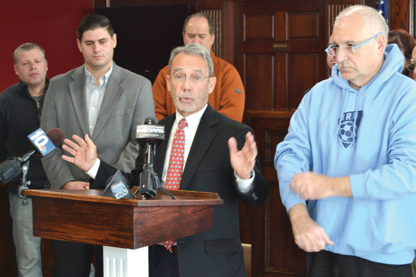 CASE CLOSED:  Johnston Town Solicitor William Conley explained the steps he took to reach a settlement with National Grid during a press conference last week.
