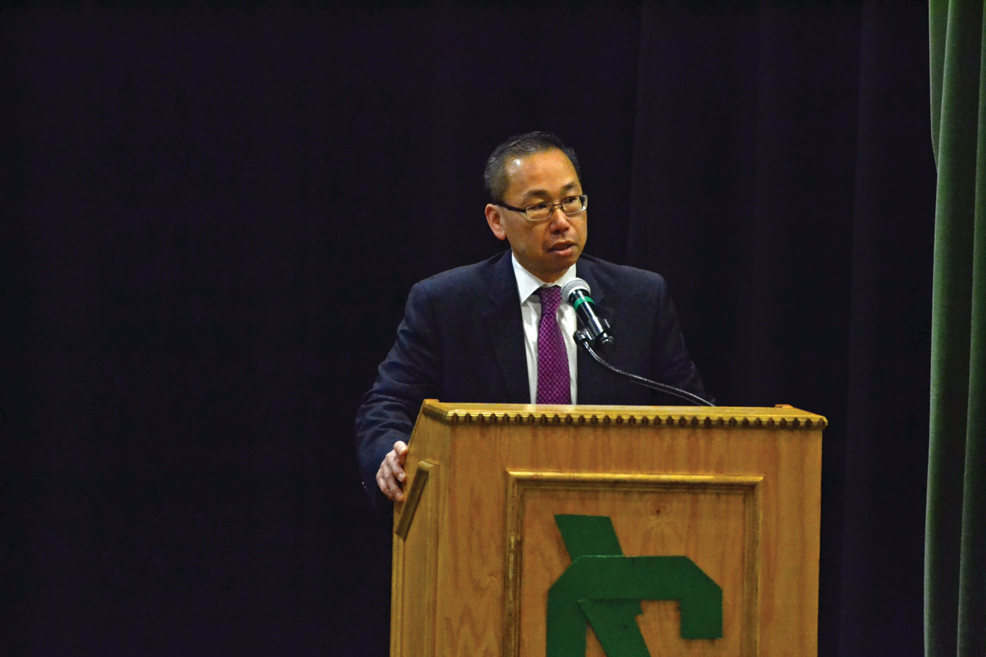 SHARING HIS STORY: Cranston mayor Allan Fung told students at Cranston East a painful story from his past, which involved a fatal traffic accident when Fung was just 18 years old.