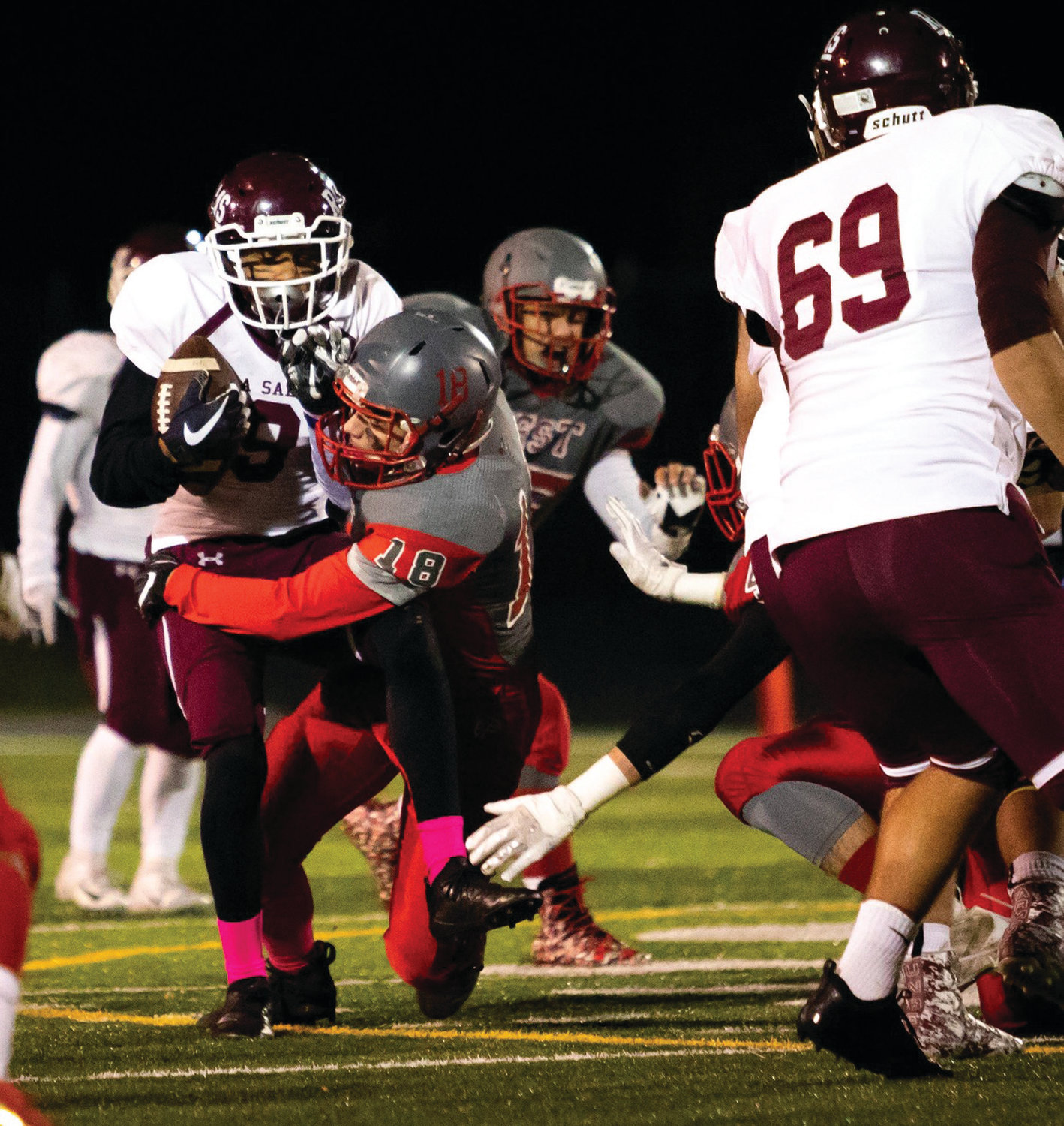 MAKING THE TACKLE: Cranston West's Noah Robert makes a tackle.
