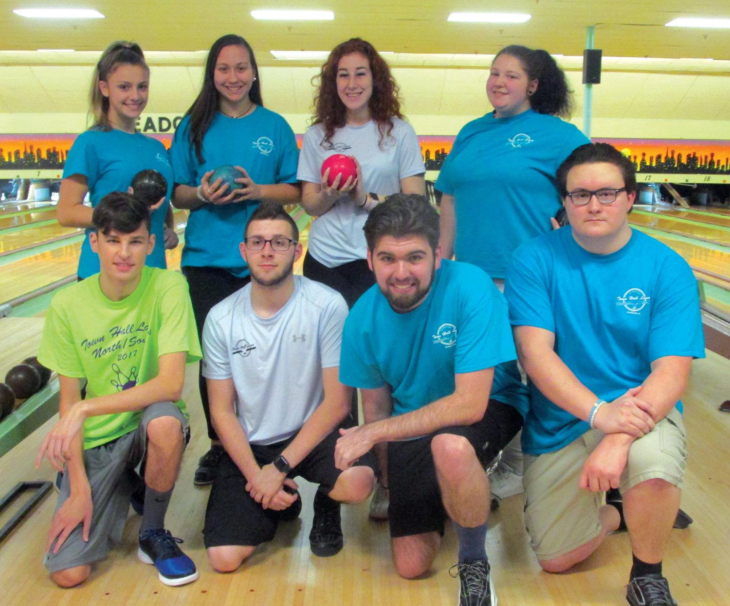 TALENTED TROOP: Among those Johnston residents who represented Town Hall Lanes in the recent State Individual/Doubles Championships in Warwick are, in front from left: Nicholas Muscatelli, Gene Potter, Adam Manocchio and Zachary Simonelli. Top: Megan Ranucci, Stephanie Bruno, Mia Femino and Lisa DeDouza.