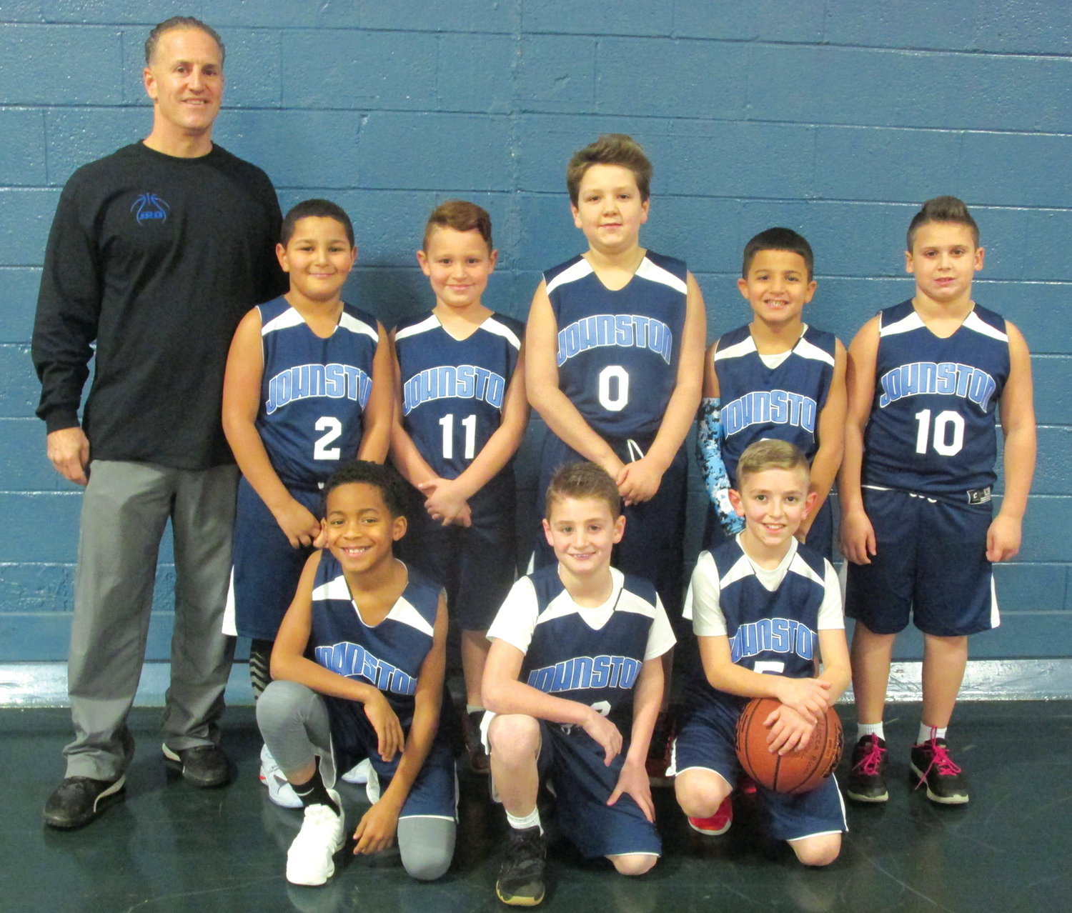 RICCI'S ROSTER: Jamie Ricci coaches this Johnston third-fourth grade level  team that includes, in front from left: Chris Cherry, Jon Costa and Lucca Ricci. Top: Lyalo Harrison, Steven Parlady, Aiden Neil, Jordan Diclo and Max Pilkington.