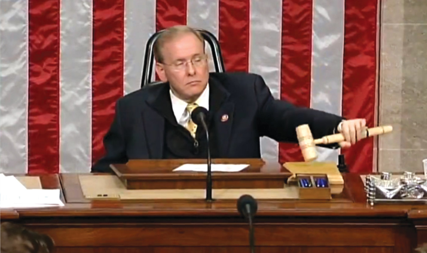 ONE POWERFUL GAVEL: Congressman Jim Langevin, and Representative for Rhode Island's Second Congressional district, presided as speaker pro-tempore over the 116th Congress on its first day in the Capitol.