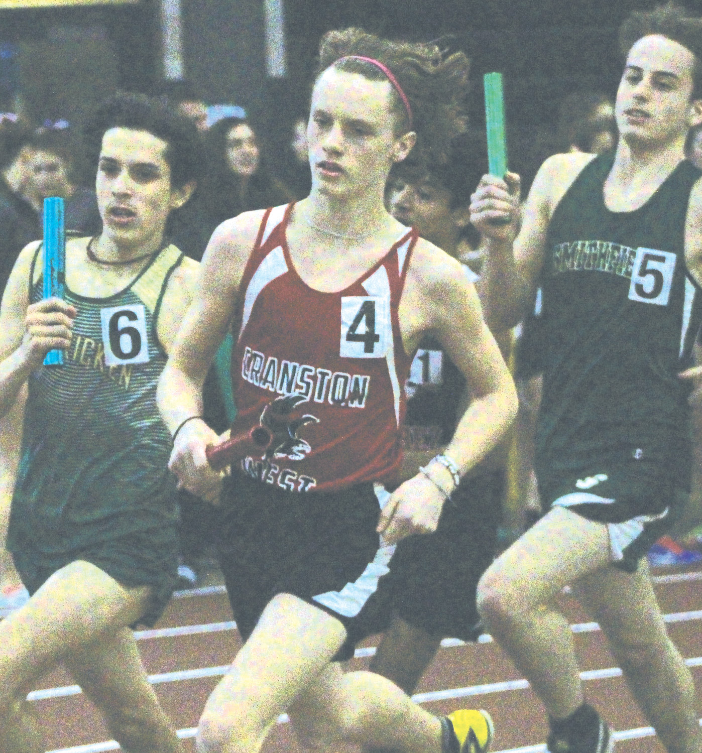 ON THE RIGHT TRACK: West competes in the relays.