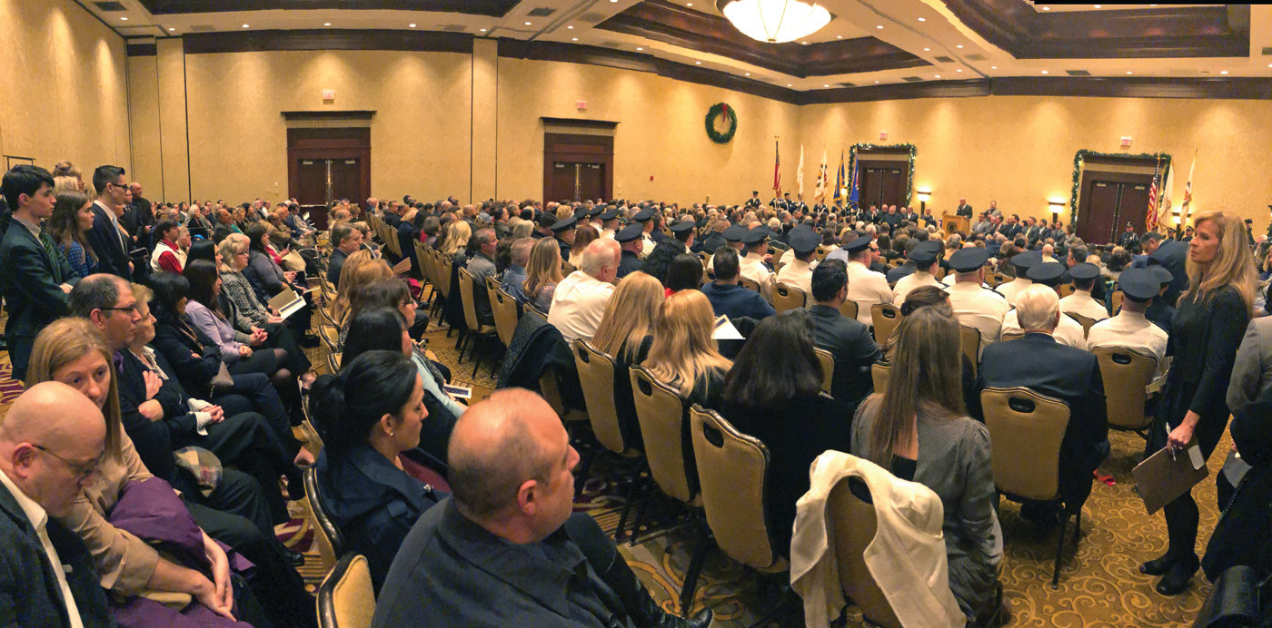 A FULL ROOM: The Crowne ballroom was packed for the inauguration.