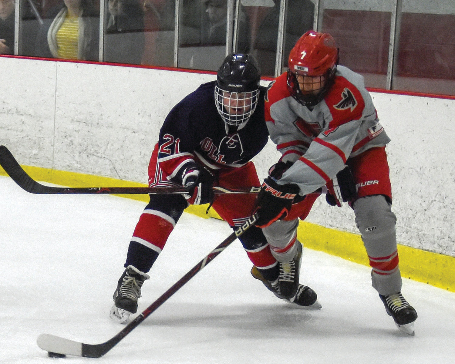 DOING BATTLE: Cranston West's Joshua Zambarano battles a Toll Gate player for possession during their matchup last week in Cranston. The Falcons won 7-4.
