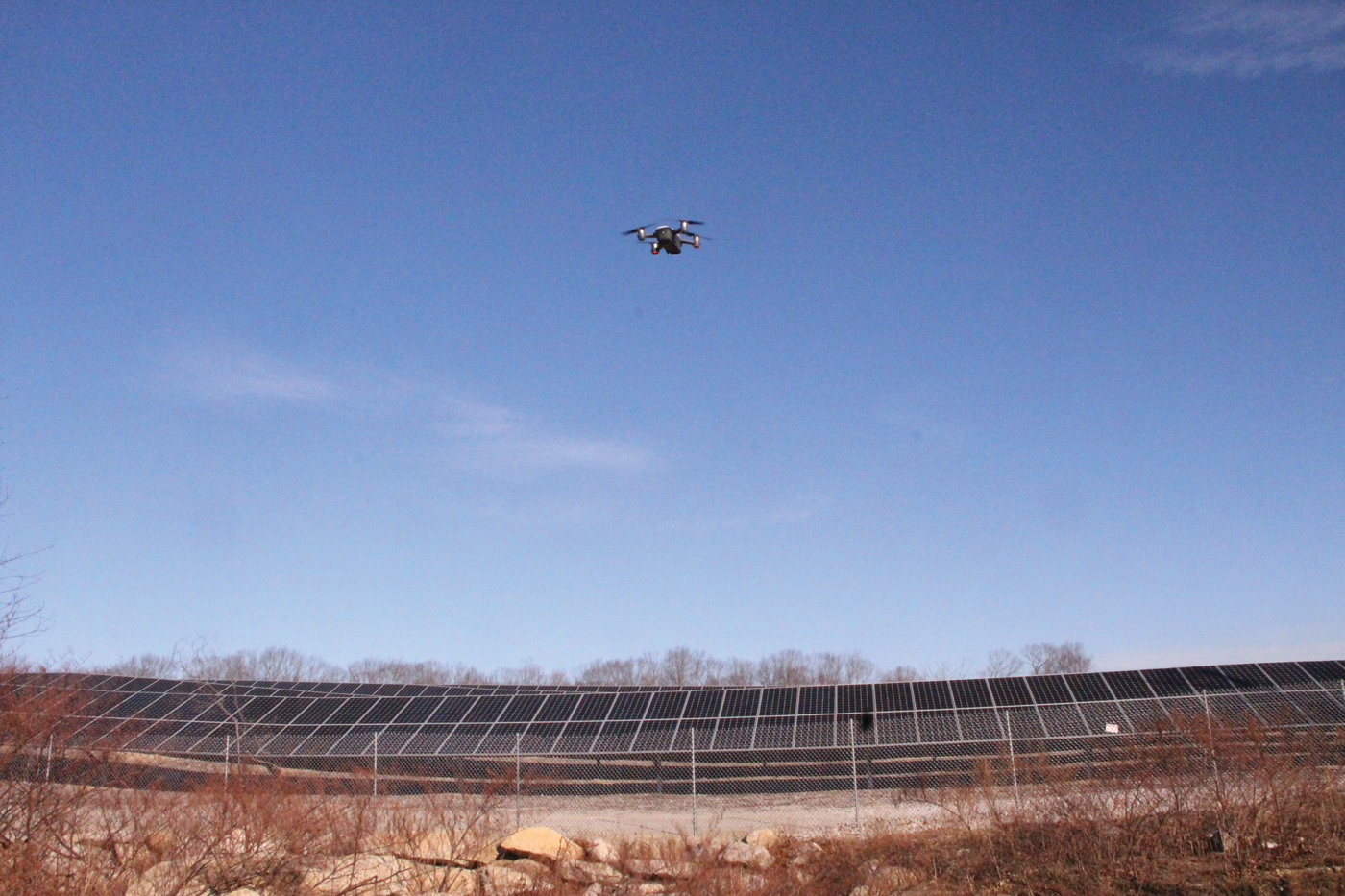 LOOKING AT THE BIG PICTURE: A drone flies over Southern Sky Renewable Energy RI's solar power installation off Lippitt Avenue in Cranston in this January file photo. Members of the public will have a chance to offer feedback on the city's review of its solar ordinance during a May 13 workshop at William Hall Library.