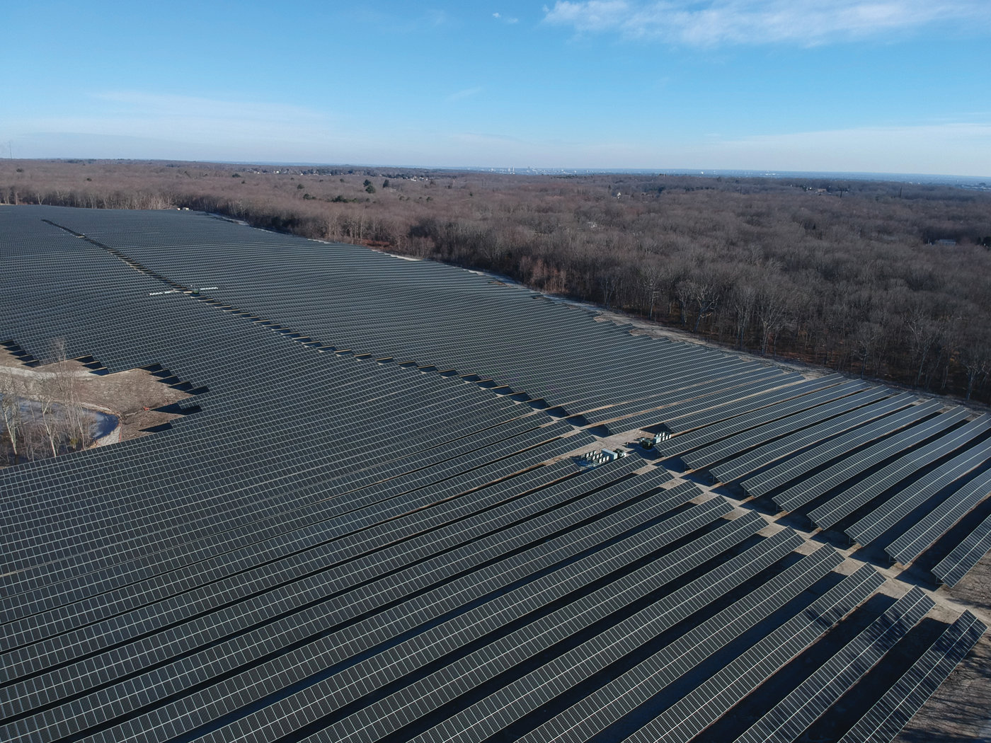 BIG PICTURE: This aerial image shows Southern Sky Renewable Energy RI's sprawling solar power installation off Lippitt Avenue in Cranston.