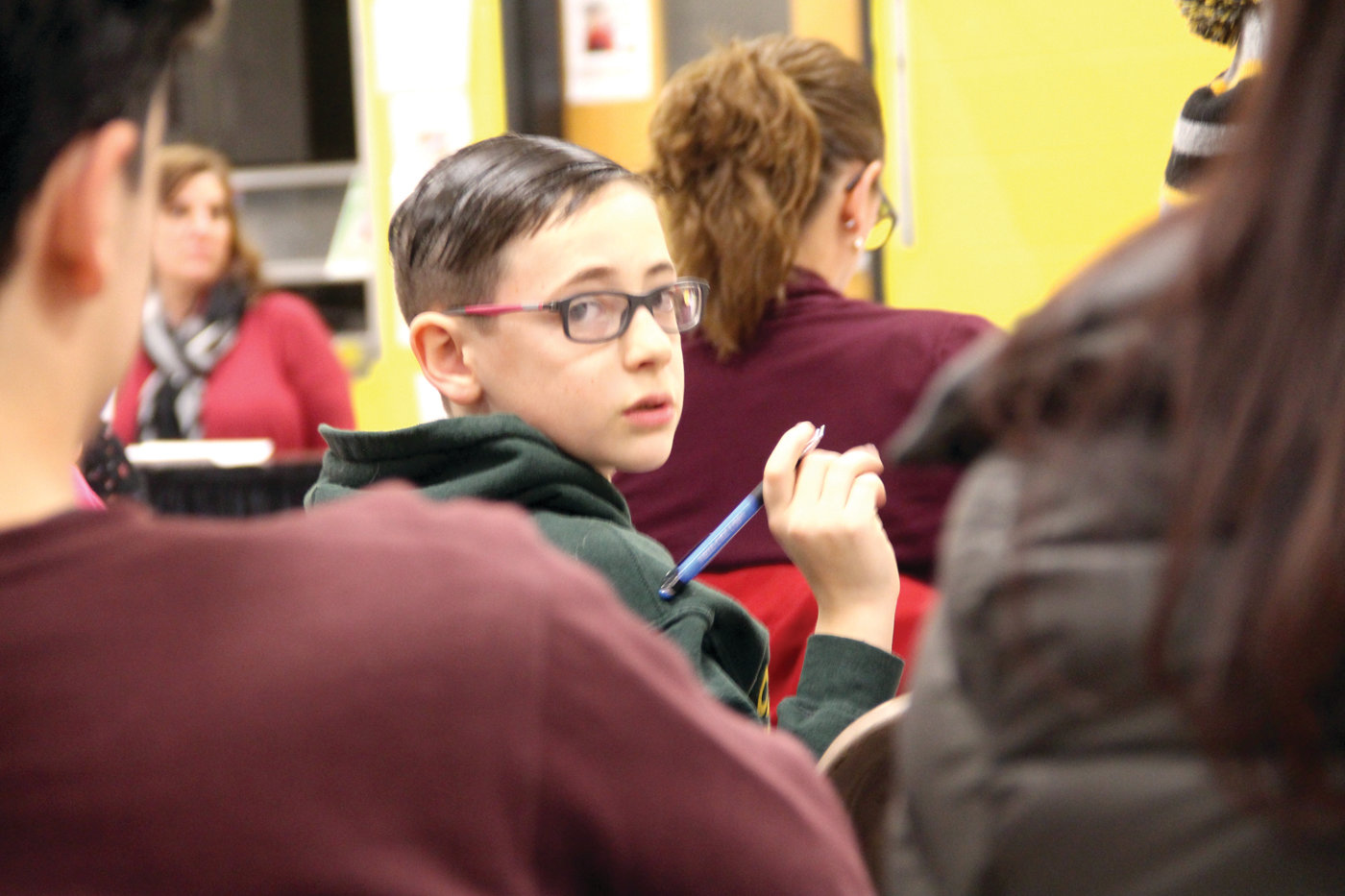 IT'S HIS FUTURE: Fourth-grader Sean Dolan was among about a dozen Chester W. Barrows Elementary School students who attended a January meeting focused on the administration's recommendation to close the school.