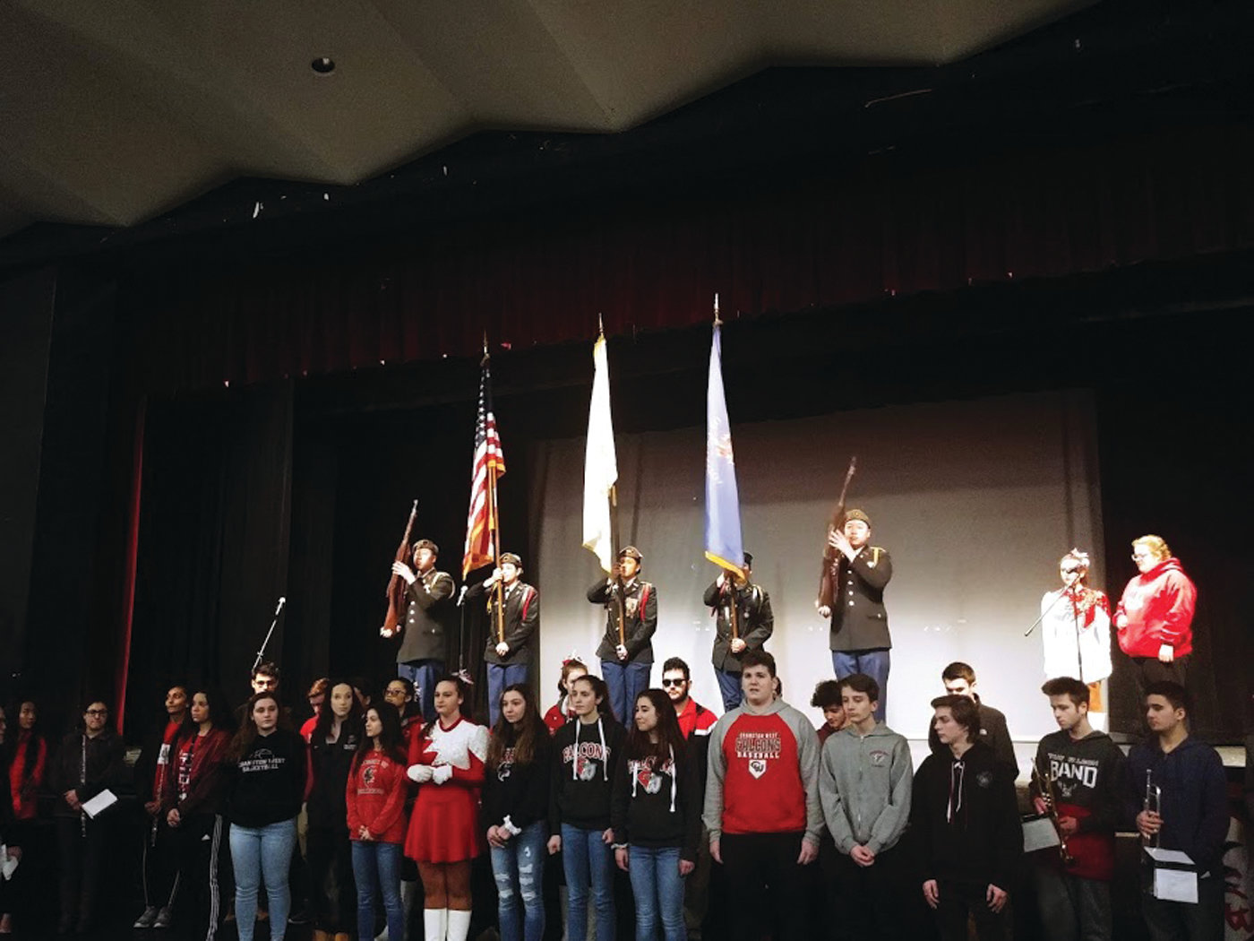 ALL ARE REPRESENTED: Opening ceremonies featured students from Cranston East, Cranston West and CACTC, including athletes, band and choir members, students from the Best Buddies program, Westernettes and Falconettes and members of the drama program.