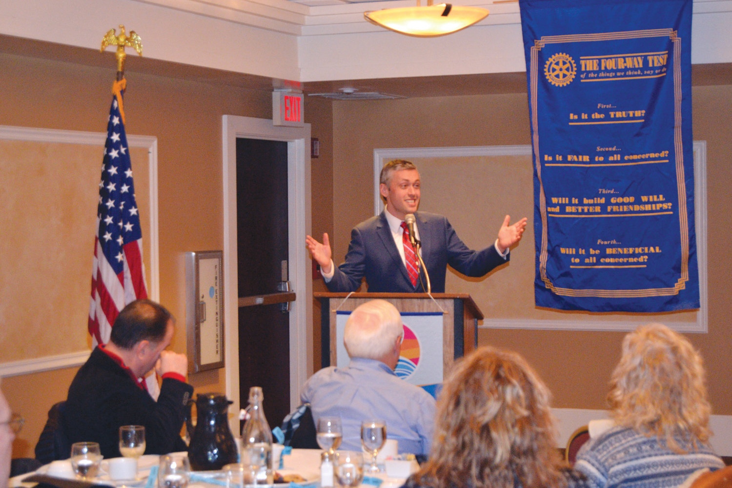 STATE OF THE MEDIA: Ted Nesi, a political and economic reporter for WPRI-TV 12, spoke with the Warwick Rotary Club on Thursday to address state issues.
