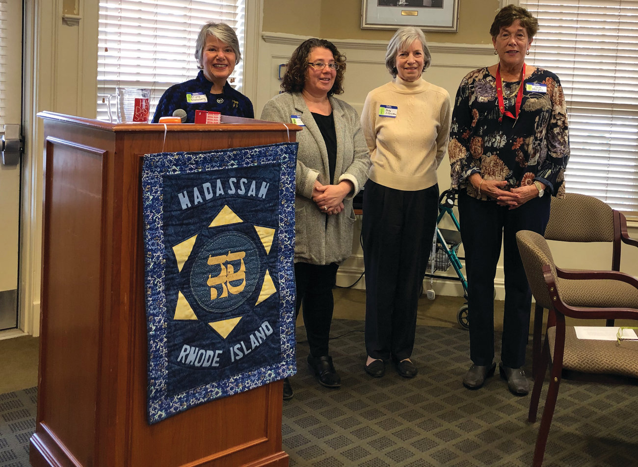 THE NEW OFFICERS: Myra Glansberg inducts Leah Ross-Coke, Judy Silverman and Sue Mayes as officers for Hadassah Rhode Island for the coming year.
