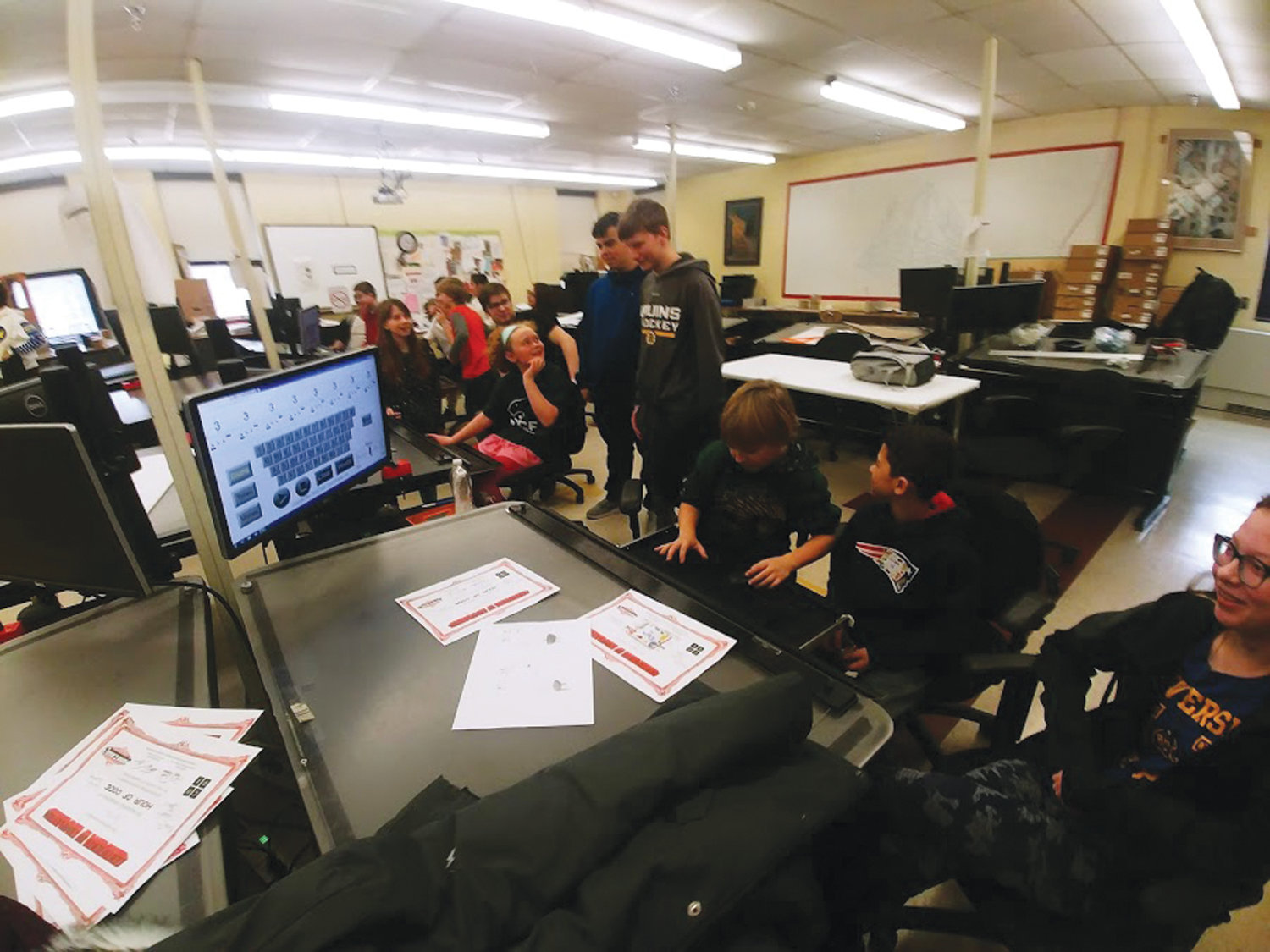 CAD AND MUSIC: The visiting elementary school students enjoyed the hands-on activities that they participated in with the help of the high school students in the CAD/Drafting pathways program.