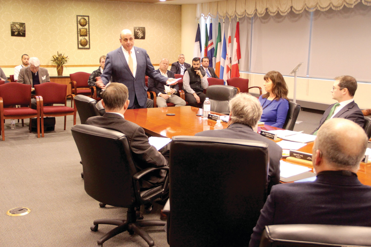 IN FULL SUPPORT: Mayor Joseph Solomon appeared before the Rhode Island Airport Corporation board of directors Thursday in support of s resolution to increase PILOT (payment in lieu of taxes) funding to the city.