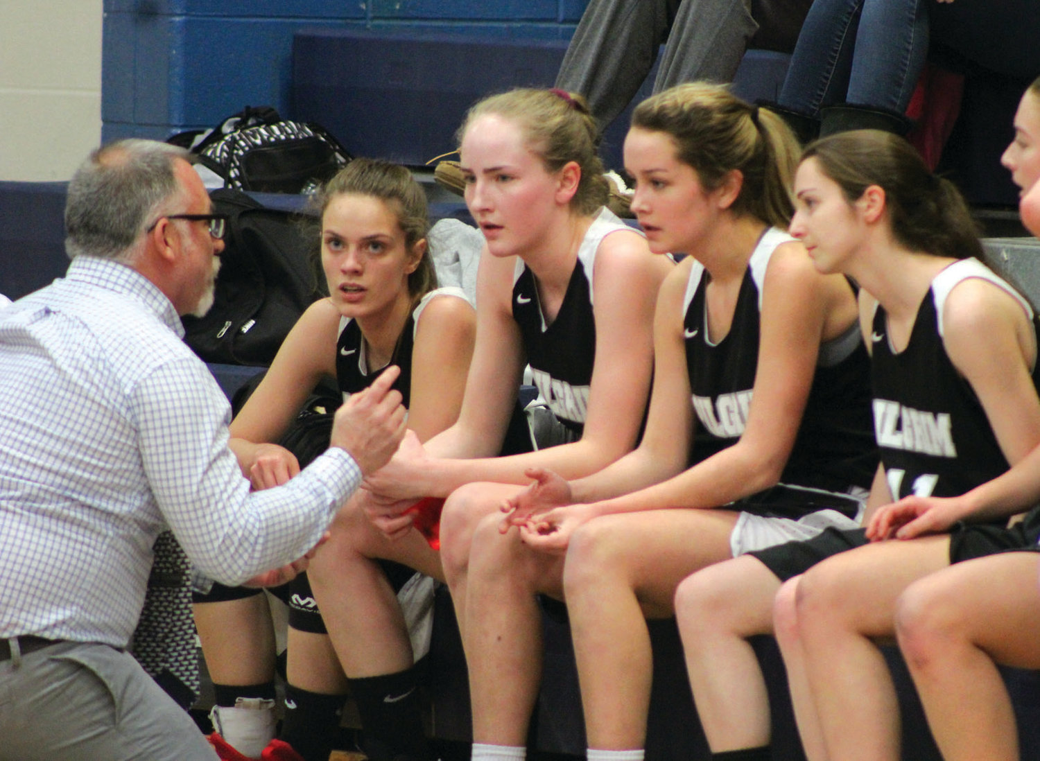 X's AND O's: Pilgrim coach Scott Bayha talks strategy during a time out in Burrillville.