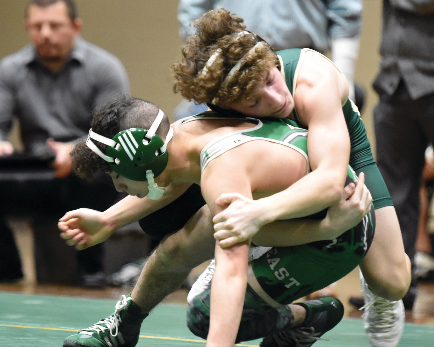 TOP POSITION: Bishop Hendricken's Noah Sclama takes down an opponent in a recent match.