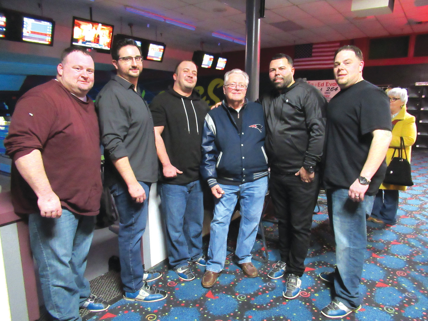 IN THE RIGHT LANE: Team J. Christopher Real Estate Group, which bowled during Saturday night's LLS fundraiser, included Onyx Del Sal, Dan Brown, David Ferranti, Ray Zanni, Jarrod Lewis and Kevin Brown.