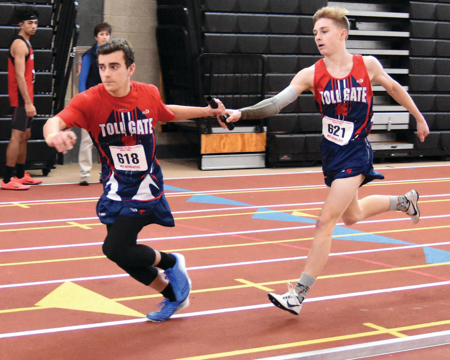 PASS THE BATON: Toll Gate's Dylan Barlow and Michael Murphy.