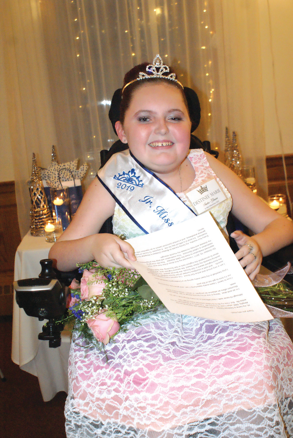 JR. MISS WHEELCHAIR: Destinee Marie Santos-Gleason, 11, of Lincoln has been named the state's first Jr. Miss Wheelchair. She is an active Girl Scout and on the honor roll at her middle school.