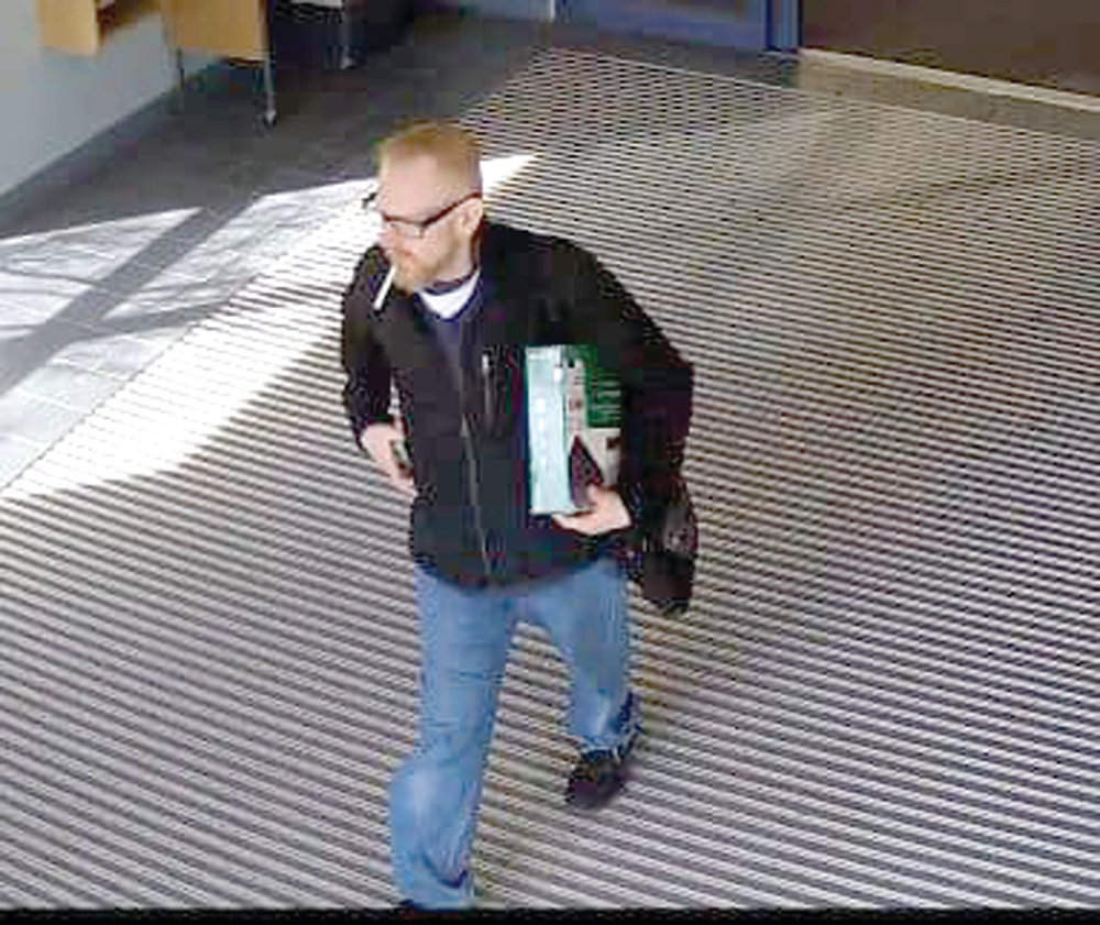 LIBRARY LARCENY: This image taken from security camera footage shows the suspect in the recent theft of a Blu-ray player from the teen room at the Warwick Public Library on Sandy Lane. Anyone with information regarding the suspect's identity is asked to contact Detective Christopher Lo at christopher.lo@warwickri.com or 468-4273.