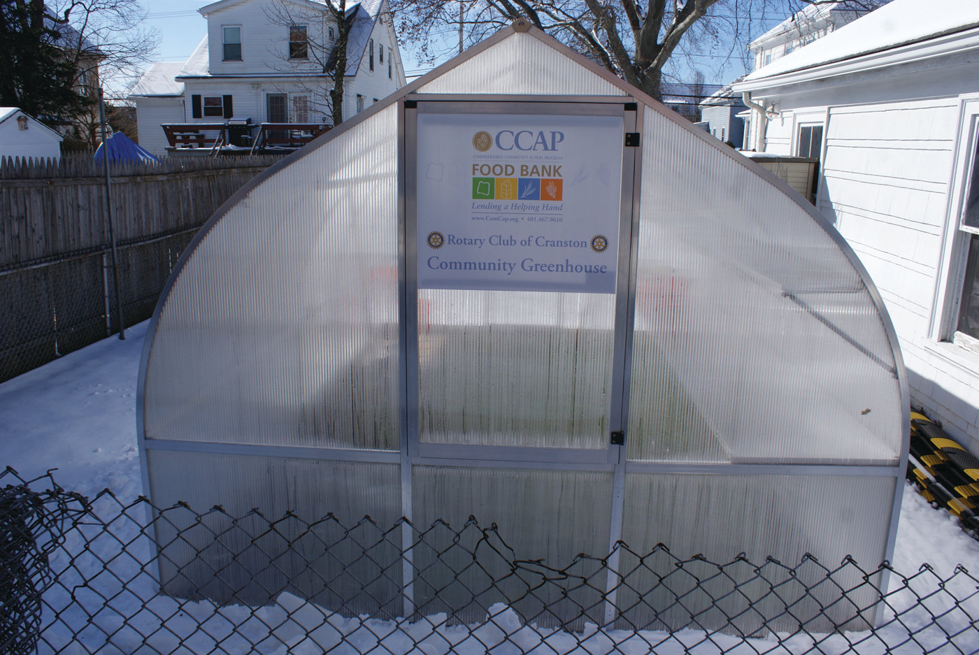 GOING 'GREEN': In addition to the Choice Food Bank at CCAP, a Community Greenhouse has been built in collaboration with the Rotary Club of Cranston.