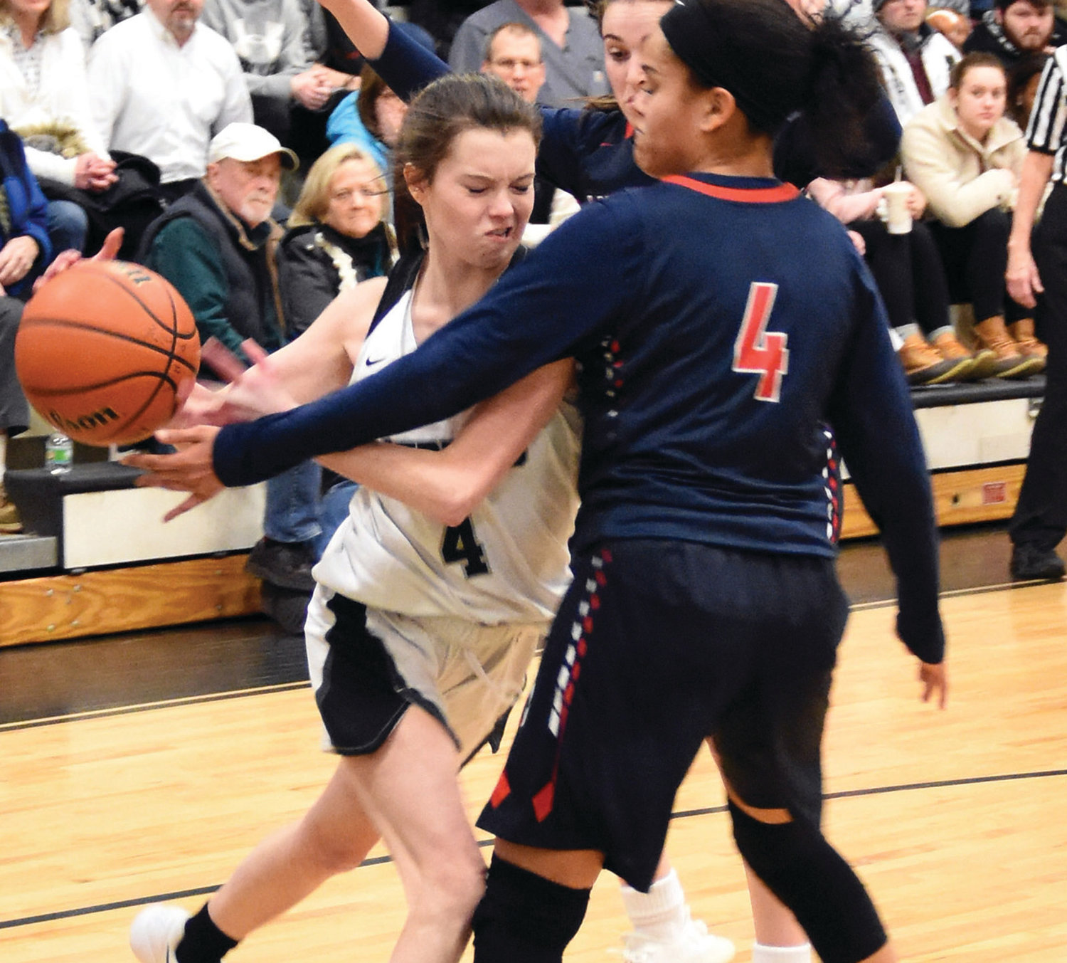 DRIVING: Pilgrim's Jillian Woods works her way past a defender.