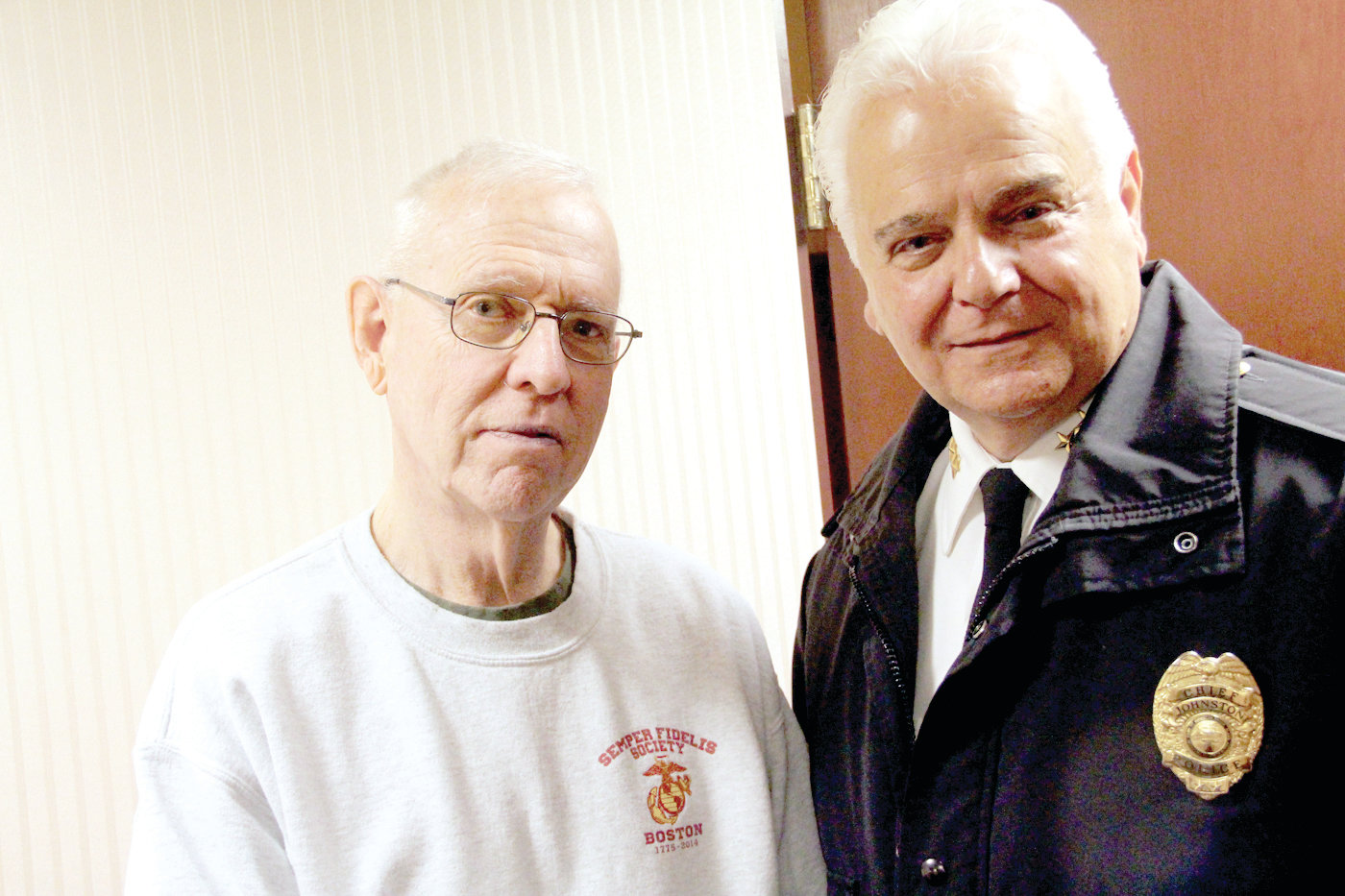 BUILDING TRUST: Johnston Police Chief Richard Tamburini, pictured at right with retired Warwick Police Chief Stephen McCartney, said the camera registry program is about fostering trust with the town.