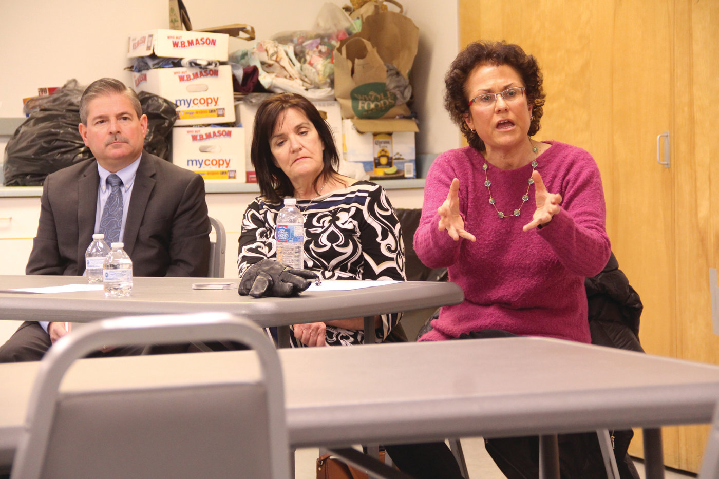 GETTING ACROSS THEIR POINTS OF VIEW: Candidates for chair of the Rhode Island Republican Party (from left) Kenneth Mendonça, Sue Cienki and Rebecca Schiff at Thursday's forum hosted by the Warwick GOP.