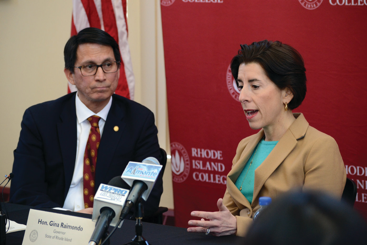 TOP LEVEL SUPPORT: Governor Gina Raimondo and RIC president Frank Sánchez discussed the potential expansion of the Rhode Island Promise program during a press conference last week.