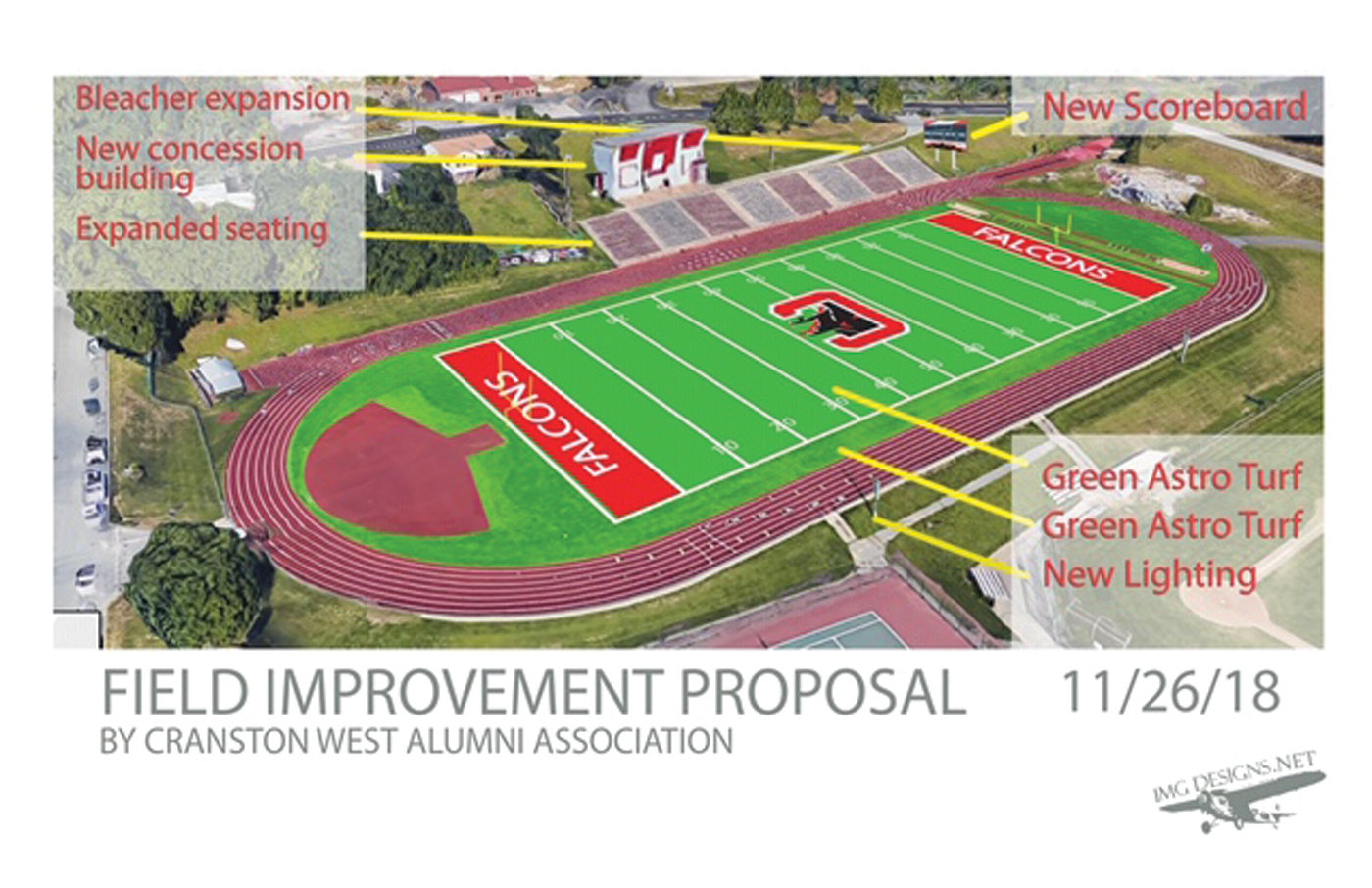 PROPOSED PLANS: An artist's rendering shows a proposal for the field and stadium at Cranston High School West, which will create a space for multiple sports.